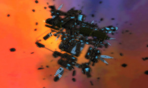 'another angle -- are those solar power collectors? asteroid field adds to realism' by torley on Flickr