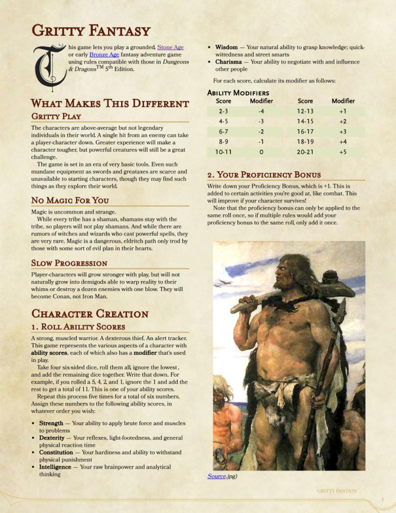 Gritty 5E, page 1