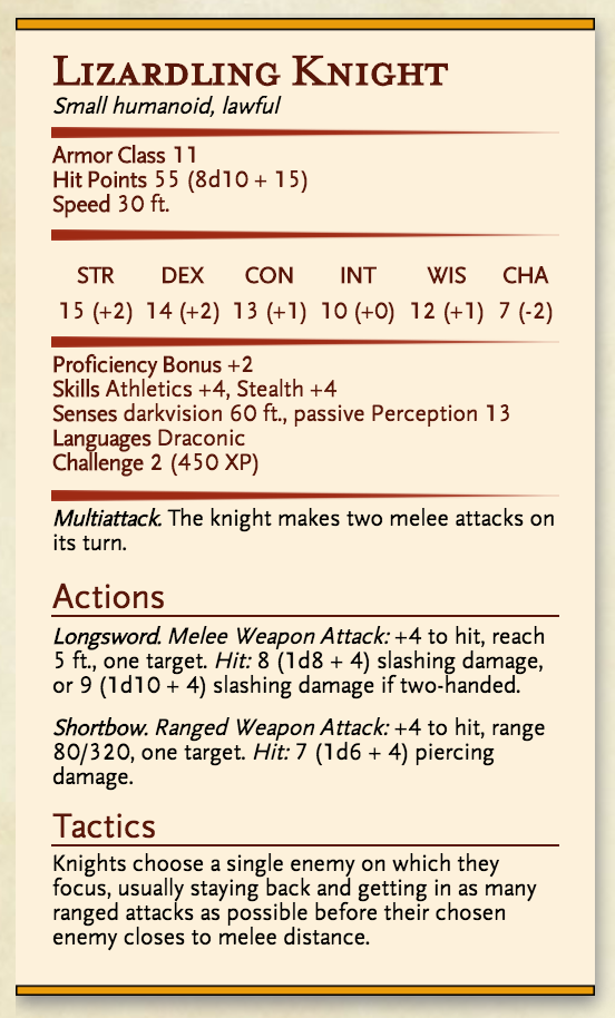 Lizardling Knight stat block