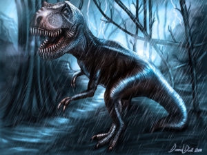T-Rex in the Storm by danimix1983-d34zbct