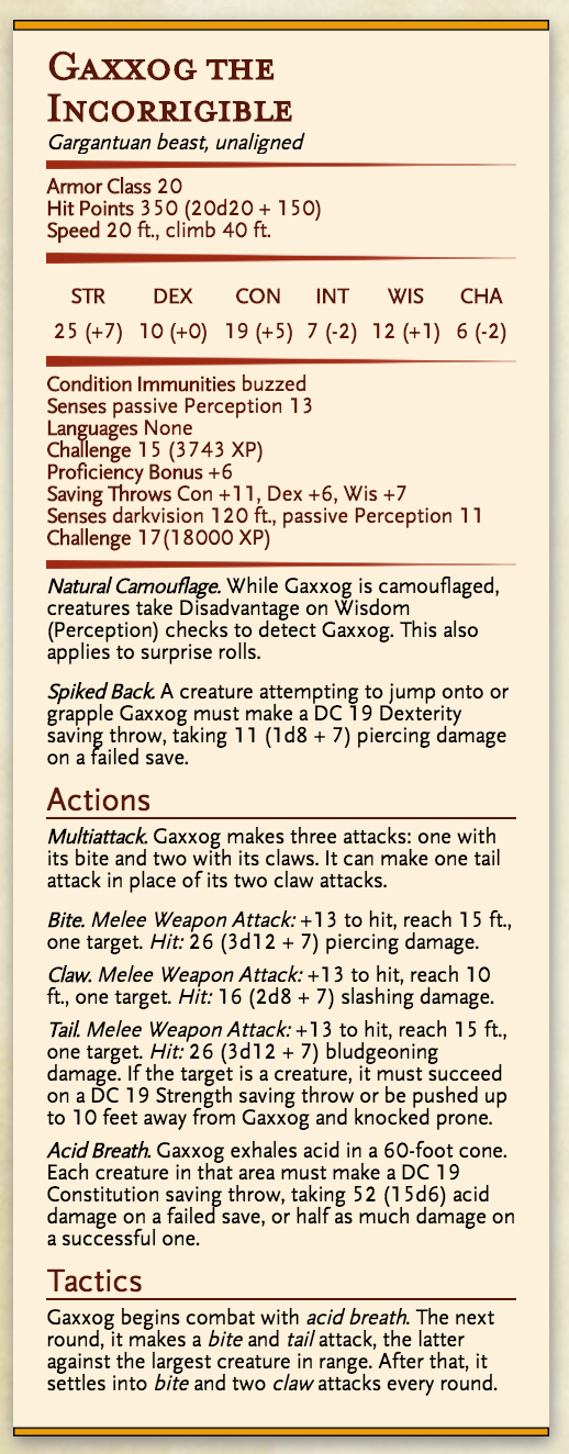 Gaxxog the Incorrigible stat block